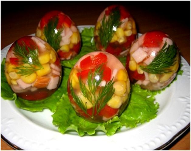 салатик в яйце,желейное яйцо,рецепты на праздник,красивое оформление стола