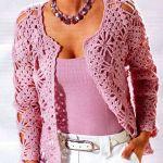 вязанный жакет крючком, жакет розовый, красивый жакет, жакет для женщины, вязанный жакет